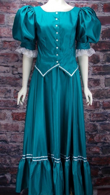 Frontier Classics Antique Satin Ensemble - Teal - Ladies' Old West Ensembles | Spur Western Wear
