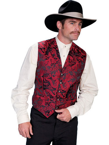"Scully ""Hells Fire"" Dragon Vest – Red and Black  - Men's Western Vests and Jackets 