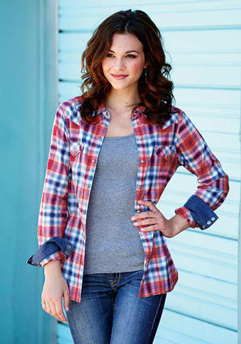 Tin Haul Fire Plaid Long Sleeve Snap Front Western Shirt - Red - Ladies' Western Shirts | Spur Western Wear