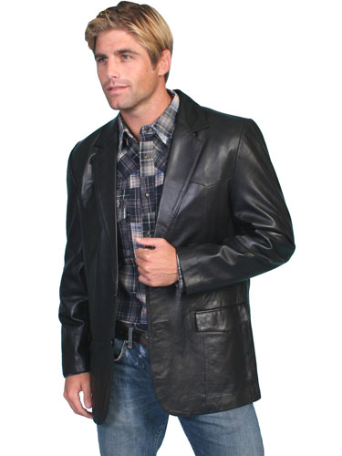 Scully Lambskin Leather Blazer - Black - Men's Leather Western Vests and Jackets | Spur Western Wear